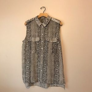 MNG snake print loose fit blouse